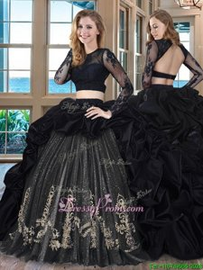 Fancy Black Taffeta Backless Scoop Long Sleeves With Train Ball Gown Prom Dress Brush Train Embroidery and Pick Ups
