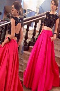 Hot Sale Scoop Short Sleeves Lace Backless Prom Evening Gown with Pink And Black Brush Train