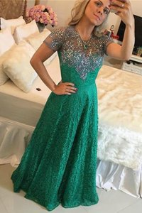 Comfortable Green Lace Zipper Scoop Short Sleeves Floor Length Prom Dress Beading