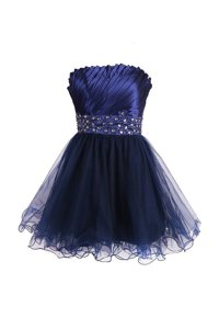 Designer Navy Blue Satin and Tulle Zipper Evening Dress Sleeveless Knee Length Beading and Sashes|ribbons