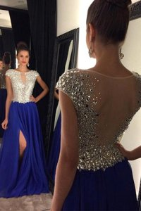 Sleeveless Zipper Floor Length Beading and Lace Prom Gown