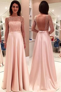 Pink Backless Prom Gown Beading Long Sleeves With Train Sweep Train