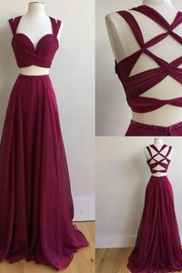 Burgundy Sleeveless Sweep Train Ruching With Train Dress for Prom