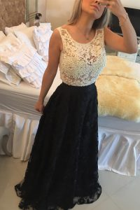 White And Black Side Zipper Scoop Beading and Lace Dress for Prom Lace Sleeveless