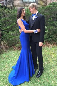 Mermaid Royal Blue Elastic Woven Satin Backless Prom Evening Gown Sleeveless With Train Sweep Train Beading