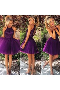 Amazing Purple Organza Backless High-neck Sleeveless Knee Length Dress for Prom Beading and Ruching