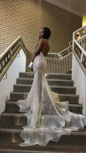 Beauteous Mermaid Lace Halter Top Sleeveless Court Train Backless Lace Dress for Prom in Silver