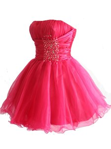 Chic Hot Pink Prom and Party and For with Beading and Sequins Strapless Sleeveless Lace Up
