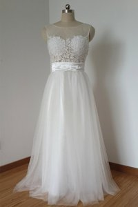 Charming Scoop Sleeveless Zipper Floor Length Lace Prom Party Dress