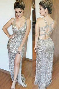 High End Sequins Mermaid Prom Evening Gown Silver V-neck Sequined Sleeveless Floor Length Backless