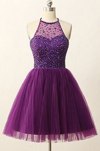 Traditional Scoop Purple Sleeveless Mini Length Sequins Zipper Prom Party Dress