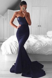 Mermaid Sequins Sweetheart Sleeveless Sweep Train Zipper Navy Blue Elastic Woven Satin