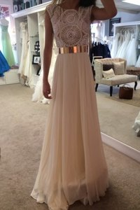 High Class Champagne Organza Zipper Scoop Sleeveless Floor Length Prom Gown Belt