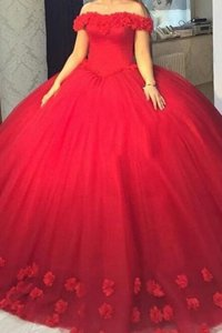 Simple Off the Shoulder Red Short Sleeves Tulle Lace Up Prom Evening Gown for Prom