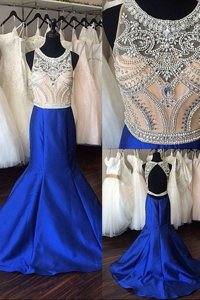 Traditional Royal Blue Mermaid Lace Prom Party Dress Zipper Satin Long Sleeves