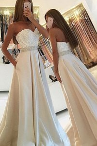 Sleeveless Beading and Lace Zipper Prom Dresses