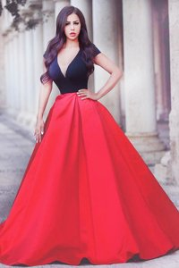 Red And Black Short Sleeves Satin Sweep Train Zipper Homecoming Dress for Prom