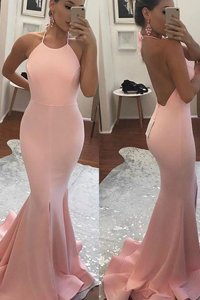 Mermaid Peach Backless Dress for Prom Beading Sleeveless With Train Sweep Train