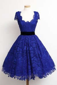 Scoop Royal Blue Cap Sleeves Lace Zipper Evening Dress for Prom and Party