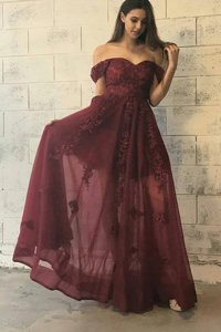 Off the Shoulder Short Sleeves Floor Length Appliques Zipper Homecoming Dress with Burgundy
