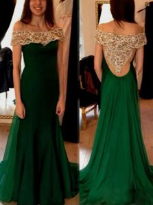 Fashionable Off The Shoulder Short Sleeves Sweep Train Beading and Pleated Dark Green Chiffon