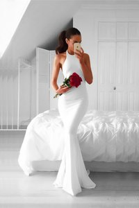Gorgeous Mermaid Chiffon Halter Top Sleeveless Sweep Train Backless Ruching Evening Dress in White