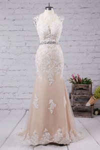 Delicate Sweep Train Mermaid Prom Dress Champagne Scoop Tulle Sleeveless With Train Backless