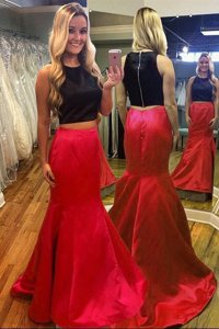 Colorful Mermaid Scoop Sleeveless Zipper Floor Length Ruching Prom Evening Gown