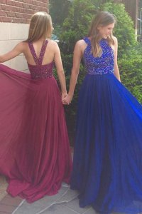 Custom Made Scoop Chiffon Sleeveless With Train Prom Evening Gown Sweep Train and Beading
