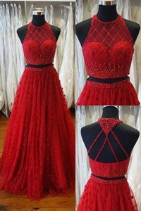 Red Backless V-neck Beading Prom Dresses Chiffon Sleeveless
