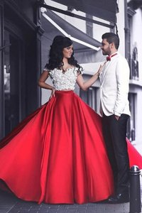 New Style Red Elastic Woven Satin Zipper Off The Shoulder Short Sleeves Floor Length Prom Dresses Appliques