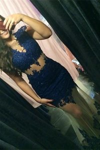Fabulous Mermaid Scoop Beading and Lace Prom Evening Gown Navy Blue Zipper Cap Sleeves Sweep Train