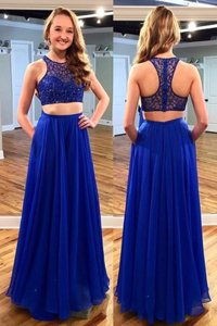 Scoop Sleeveless Beading Zipper Evening Dress