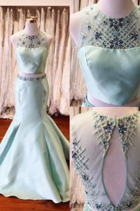 Mermaid Light Blue Backless Scoop Beading and Sashes|ribbons Prom Dresses Satin Sleeveless