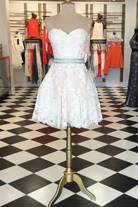 Lace Knee Length A-line Sleeveless White Prom Party Dress Zipper