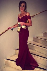 Off the Shoulder Burgundy Prom Dress Satin Brush Train Short Sleeves Lace