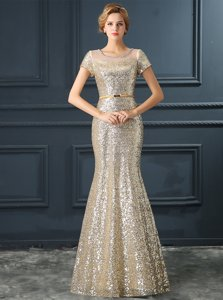 Excellent Mermaid Scoop Floor Length Silver Prom Dress Satin Short Sleeves Sequins and Belt