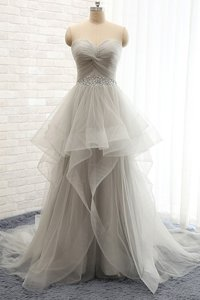 Super Sleeveless Tulle Court Train Lace Up Prom Party Dress in Grey for with Beading