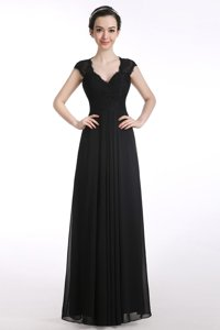 Cute Black Chiffon Zipper V-neck Cap Sleeves Floor Length Dress for Prom Lace