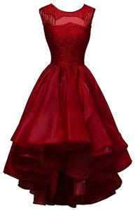 Delicate Organza Bateau Sleeveless Zipper Beading Prom Gown in Wine Red
