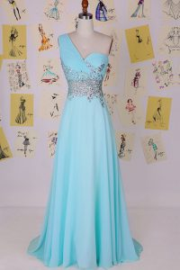 Aqua Blue One Shoulder Side Zipper Beading Prom Dress Brush Train Sleeveless