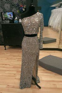 Cheap One Shoulder With Train Silver Dress for Prom Sequined Sweep Train Long Sleeves Beading