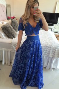 Royal Blue A-line V-neck Short Sleeves Chiffon Sweep Train Zipper Lace and Appliques Dress for Prom