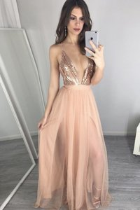 Best Selling Sequins Pleated A-line Prom Party Dress Peach V-neck Tulle Sleeveless Floor Length Zipper