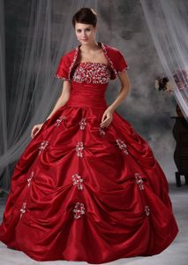 Beaded and Appliqued Wine Red Quinces Dresses with Pick ups 2014