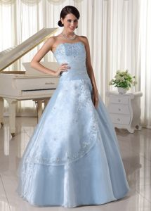 Sacramento CA Light Blue Organza Quinces Dresses with Appliques
