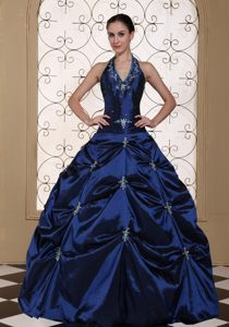 Navy Blue Halter Quinces Dresses with Appliques and Pick ups