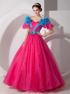 Flowery Hot Pink Off Shoulder Quinces Dresses with Short Sleeves