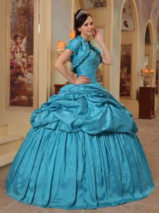 Rowland Heights CA Appliqued Teal Quinces Dresses with Pick ups