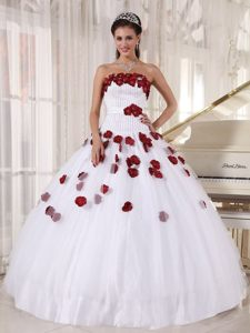 Beaded White Quinces Dresses with Wine Red Flower Appliques 2014